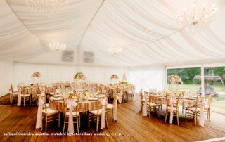 pártystan svatební výzdoba, slídové opláštění, baldachýn, křišťálové lustry + šauer
